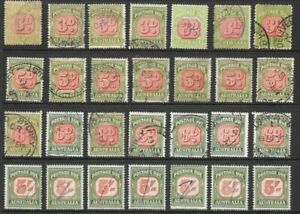 Stamps Australia Postage Dues Selection x 28 Good Used/Fine Used, 3d, 5d, 6d, 5/