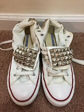 ~CHUCK TAYLOR CONVERSE ALL STAR White Shoes Sneakers Mens 5.5 5 1/2 Rhinestones