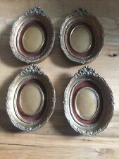 Set Of Four Small Oval Picture Frames Gold Tone