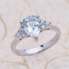 2.25ctw Aquamarine Pear Shape Engagement Ring Solitaire in 14K White Gold