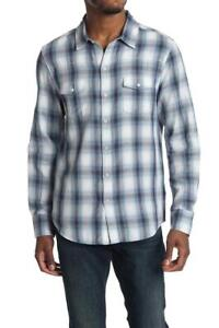 $179 - Paige Hunter Cotton White/Blue Multi Plaid Shirt Size M