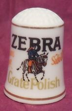 VILLAGE SHOP FRANKLIN PORCELAIN THIMBLE ZEBRA GRATE POLISH 1982 ADVERTISING