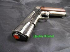 NEW 3D CHROME METAL & WOOD ITALY MOVIE PROP Pistol Replica 1911 Hand Gun COLT 45