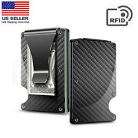 Carbon Fiber RFID Blocking Minimalist Money Clip Card Holder Metal Men Wallet US