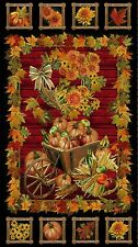 "AUTUMN HARVEST FABRIC  PUMPKINS w/ METALLIC  TIMELESS TREASURE COTTON  23"" PANEL"