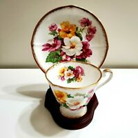 ROSLYN TEACUP AND SAUCER SUMMER BEAUTY FINE BONE CHINA ENGLAND #8612