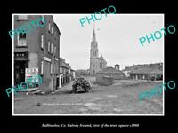 OLD LARGE HISTORIC PHOTO OF BALLINASLOE GALWAY IRELAND, THE TOWN SQUARE c1900
