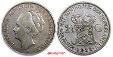Netherlands Wilhelmina I Silver 1938  2-1/2 Gulden  KM#165