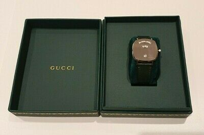 Gucci Grip Stainless Steel Case Green Leather Strap Watch YA157406