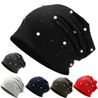 Women Stretch Headgear Pure Color Pearl Head Scarf Wrap Warm Thick Hat Cap M7