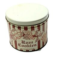 Grace Rush Rum Cookies Empty Tin canister Cincinnati Ohio Round Stripe Red White