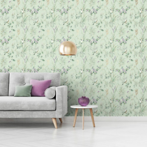 Mariko Mint Green and Plum Floral Birds Wallpaper Woodland Design by Crown M1552