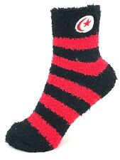 Red and Black Striped Fuzzy Socks with White and Red Crescent Moon and Star Logo