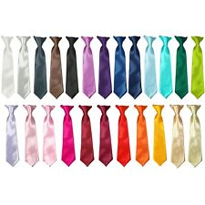 Kids Tied Classic Plain Colour Safety Clip On Tie Boys Smart Formal Wedding Ties