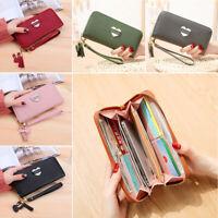Women Clutch PU Leather Wallet Long Card Holder Phone Bag Case Purse Handbags