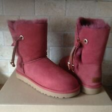 UGG Maia Red Clay Suede Sheepskin Cuff Beads Short Boots Size US 12 Womens NEW