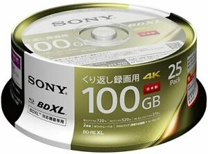 SONY Blu-ray Disc 25 Packs 100GB 2X Speed BD-RE XL 25BNE3VEPP2 Japan import NEW