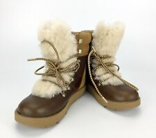 UGG Viki Women Boots Fur waterproof brown leather winter short lace Size 6