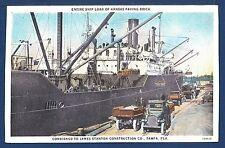 Freighter Loading Paving Bricks at Tampa Florida