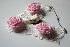 Taxidermy Bird Skull Necklace Crow Corvus White Lace Statement Pink Roses Gothic