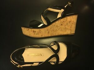 Prada Black Patent Leather Cork Wedge Heel Sandals 39.5 Fit AU 8.5 9 EU 39.5 40