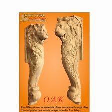 Hand Carved Hard Wood Lion Base Mantel, Corbel Fireplace Island Onlay