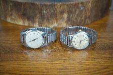 Lot of 2 Hallmark Wrist Watch Stainless Swiss Winding 17 Jewel - Working