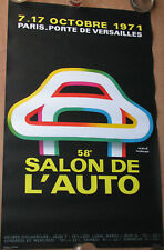 363 . 1 X AFFICHE : FORMAT : 62 X 100 CM . SALON DE L'AUTO . 1971 . HERVE MORVAN
