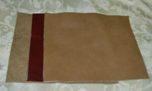 Scrap Leather Genuine cowhide Tan & Red Nice. 10 x 12  inches 3 pieces NEW