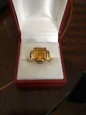 9 Carat Gold Yellow Topaz Signet Ring - Size S