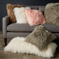 "Mongolian Luxury Collection Tibetan Lamb Fur Square Decorative Pillow 18""X18"""