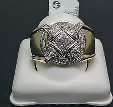 10K Men's Yellow Gold Thick Ring With 0.25CT Diamond/ Pinky Ring