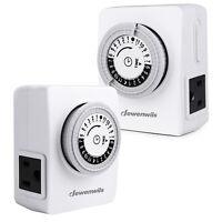 DEWENWILS Indoor Outlet Timer Mechanical Light Timer Plug in 2 Pack for Lamp