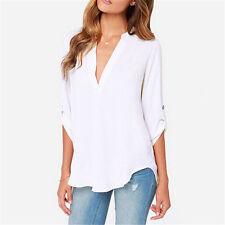 Womens V-neck Tops Loose Long Sleeve T-shirt Casual Blouse Chiffon Summer Shirts Brick Red 3xl