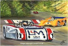 Original painting JACKIE STEWART-LOLA T260-Road Atlanta può AM 1971
