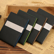 Moda Uomo PU Leather Money Clip Bifold Slim Portafoglio ID Credit Card Holder