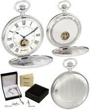 Woodford Twin-Lid Pocket Watch, Visible Escapement, 17 Jewel Chrome-Plated 1117