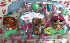 Authentic Littlest Pet Shop Owl 673,Fox 674 & Dachshund 675,Trainin' Park Dog