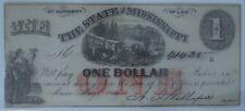 1864 Cr.44 $1 The State of Mississippi Note - Civil War Era w/ Train Unc-64