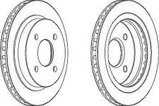 Ferodo DDF479C Rear Axle Vented Coated Brake Disc Set Replaces 5026786