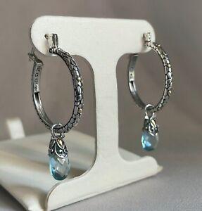 Sterling Silver & 18K Gold Dangling Blue Topaz HOOP Earrings;N293