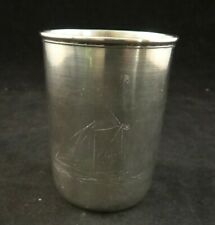 """Danish 826 Fine Silver Tapered Cup w/etched Sailboat. 3 1 /8"""". c. late 1800's"""