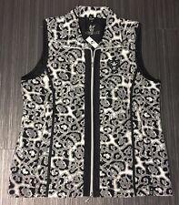 "Damen Fleece-Weste ""HAJO"" Größe 42 Mikrofaser Animal Print schwarz/weiß/grau NEU"