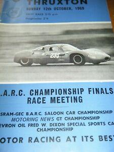 THRUXTON 1969 PROGRAMME ROGER WILLIAMSON FORD ANGLIA GINETTA G4 G12 LANDAR R6