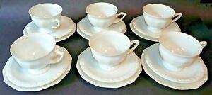 6 Kaffeegedecke 3tlg Rosenthal Maria Weiß alte Serie 50er Jahre - selten