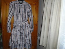 Pink, black and white check shiny look raincoat with belt, ATMOSPHERE, size 12