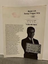 Original Wavetek Model 114 Sweep Vcg Company Brochure Product Announcement Rare