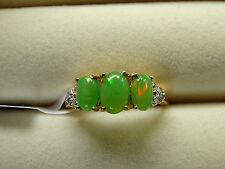 Rare Green Ethiopian Opal Trilogy & Diamond 14K Y Gold/925 Ring Size L