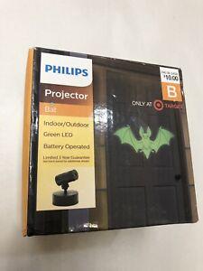New Philips Projector Bat Indoor/Outdoor Green LED Battery Operated Halloween