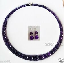 Natural 6-14mm Amethyst Round Gemstone Beads Necklace Earring Jewelry Set